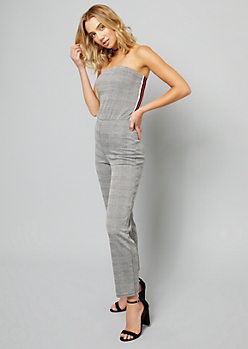 Houndstooth Pattern Side Striped Strapless Jumpsuit