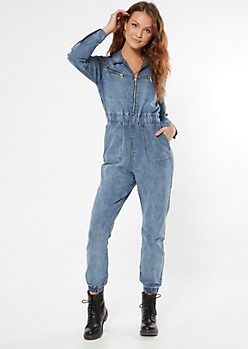 Chambray Zip Front Jogger Jumpsuit
