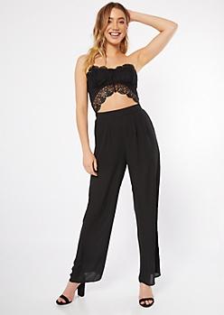 Black Crochet Sweetheart Bodice Jumpsuit