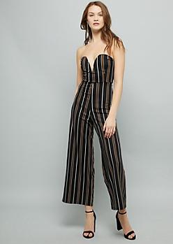 Black Striped Strapless V Neck Jumpsuit