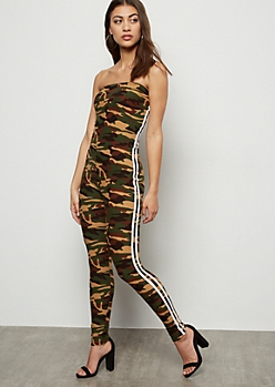 Camo Print Side Striped Super Soft Tube Jumpsuit