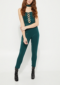 Green Lattice Halter Jumpsuit