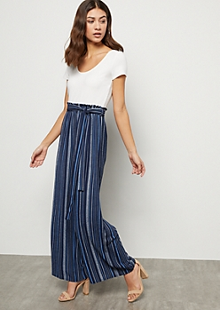 Blue Striped Crepe Paperbag Waist Wide Leg Jumpsuit
