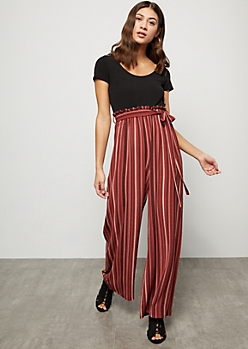 Dark Mauve Striped Crepe Paperbag Waist Wide Leg Jumpsuit