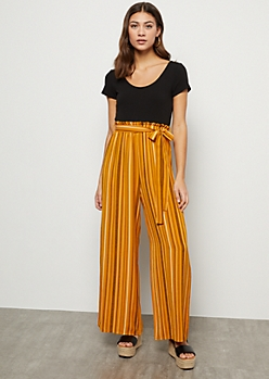 Mustard Striped Crepe Paperbag Waist Wide Leg Jumpsuit