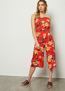 Red Tropical Print Smocked Tube Top Jumpsuit