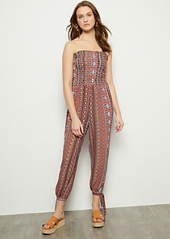 Red Border Print Tube Tie Leg Jumpsuit