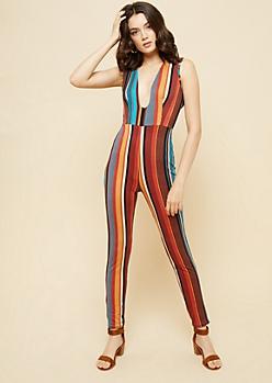 Multi Striped Deep V Open Back Jumpsuit
