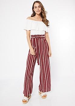 Burgundy Striped Paperbag Waist Contrast Jumpsuit
