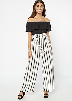 White Striped Paperbag Waist Contrast Jumpsuit