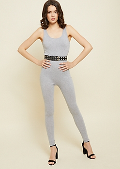 Red Fox Heather Gray Form Fitting Jumpsuit