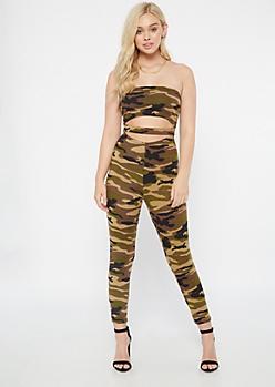 Camo Print Super Soft Cutout Strapless Jumpsuit