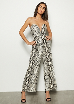 18ce651f91b Snakeskin Print Structured V Neck Jumpsuit