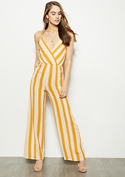 ca6cda3a4255 Yellow Striped V Neck Sleeveless Jumpsuit