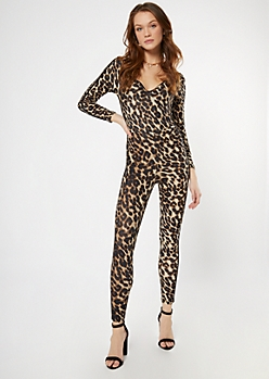 Cheetah Print Deep V Neck Catsuit