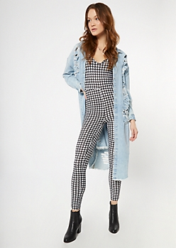 Houndstooth Print Deep V Neck Catsuit