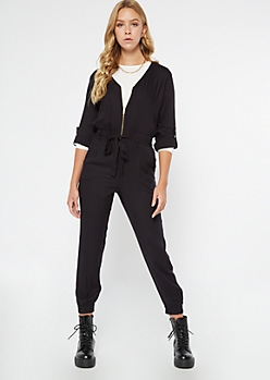 Black Zippered Front Tabbed Sleeve Jumpsuit