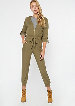 Olive Zippered Front Tabbed Sleeve Jumpsuit