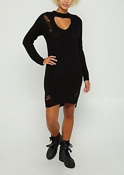 Black Distressed Keyhole Sweater Dress