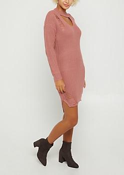 Pink Distressed Keyhole Sweater Dress