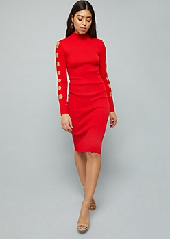 Red Caged Mock Neck Ribbed Knit Midi Dress