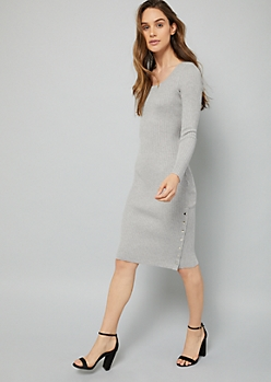 Gray Snap Side Ribbed Knit Long Sleeve Sweater Dress