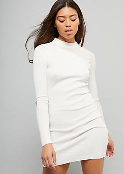 Ivory Ribbed Knit Illusion Neckline Sweater Dress