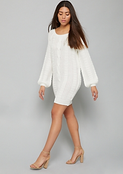 Ivory Cable Knit Balloon Sleeve Mini Sweater Dress
