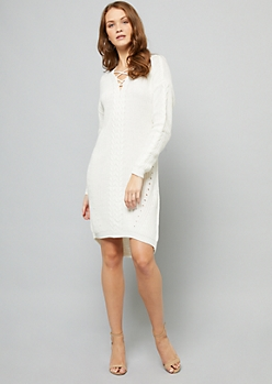 Ivory Cable Knit Crisscross Neck Sweater Dress