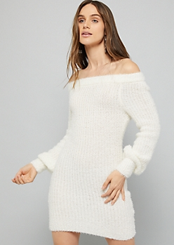 Ivory Off the Shoulder Boucle Knit Sweater Dress