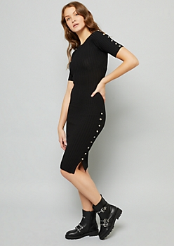 Black Button Side Ribbed Knit Bodycon Dress