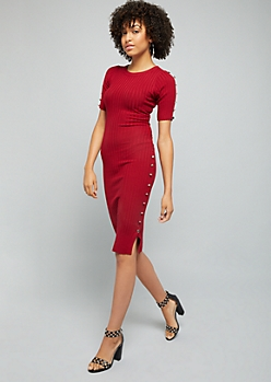 Burgundy Button Side Ribbed Knit Bodycon Dress