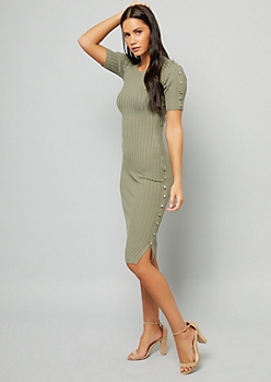 Olive Button Side Ribbed Knit Bodycon Dress