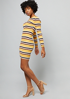 Yellow Striped Ribbed Knit Long Sleeve Dress