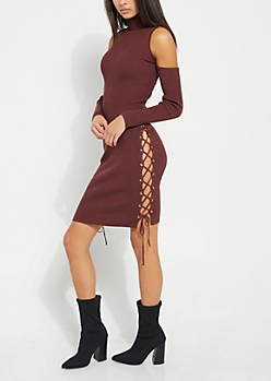 Burgundy Cold Shoulder Lace Up Sweater Dress