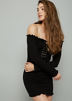 Black Lace Up Off The Shoulder Ribbed Knit Mini Dress