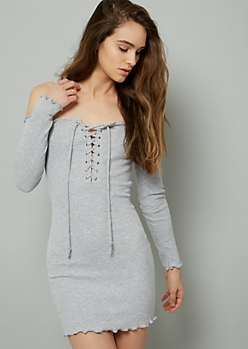 Gray Lace Up Off The Shoulder Ribbed Knit Mini Dress