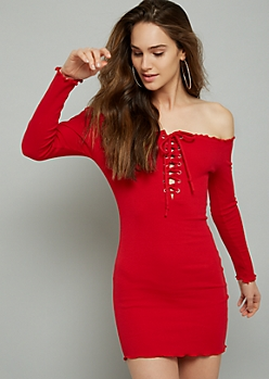 1ed37f548b Red Lace Up Off The Shoulder Ribbed Knit Mini Dress