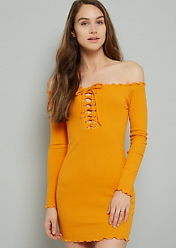 Yellow Lace Up Off The Shoulder Ribbed Knit Mini Dress