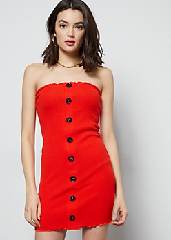 Red Ribbed Knit Lettuce Edge Tube Dress