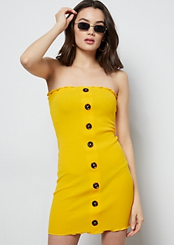 Mustard Ribbed Knit Lettuce Edge Tube Dress