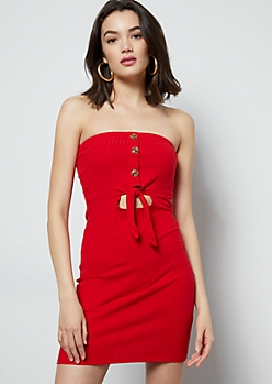 Red Ribbed Knit Strapless Cutout Mini Dress