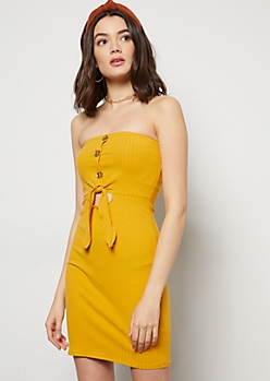 Mustard Ribbed Knit Strapless Cutout Mini Dress