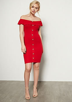 0022e11249 Red Button Down Off The Shoulder Dress
