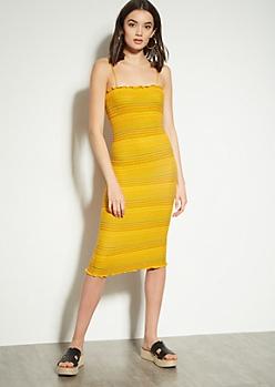 b787db6d8e91cb Mustard Striped Sleeveless Smocked Midi Dress