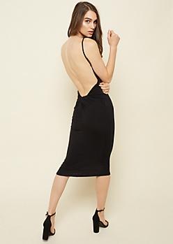 Black Open Knot Back Midi Dress