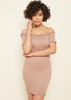 Taupe Off The Shoulder Smocked Dress
