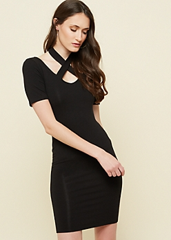 Black Crossing Neck Strap Bodycon Dress