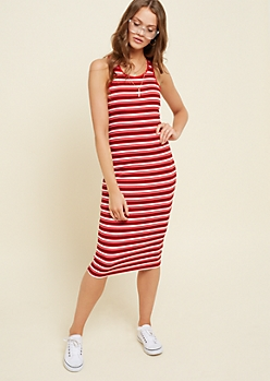 Red Striped Racerback Ribbed Knit Midi Dress