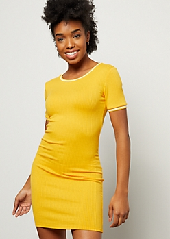 Yellow Ribbed Knit Striped Trim Ringer Dress